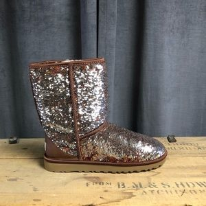 Ugg Classic Sparkle Boots 9 New Short Winter Brown